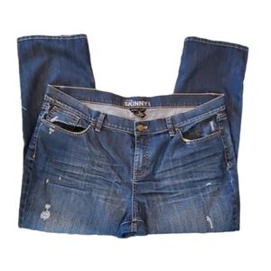 New York & Co Blue Distressed Skinny Jeans…